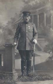 Taisho (?) Period Japanese Army Officer Holding Sword Real Photo Postcard