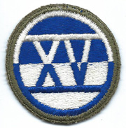 ASMIC WWII 1st Type XV / 15th Corps OD Border Patch