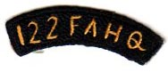 122nd Field Artillery Headquarters Japanese Made Tab