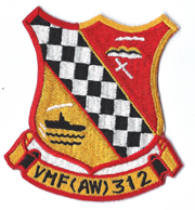 Vietnam Era US Marine Corps VMF(AW)-312 CHECKERBOARDS  Squadron Patch