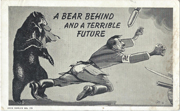 WWII Hitler & Russian Bear Home Front Postcard