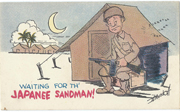 WWII Waiting For Japanese Sandman Postcard