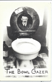 WWII Anti-Hitler Home Front Toilet Bowl Gazer Real Photo Postcard