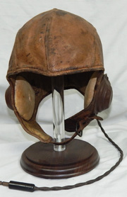 1930's-1940's Aviation Leather Flight Helmet With Electronics