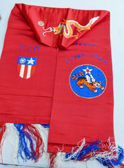 WWII 14th Air Force Pilots Embroidered Silk Scarf