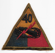 WWII 40th Tank Battalion Patch With Hand Added Numbers