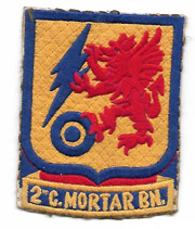 1940's-50's 2nd Chemical Mortar Battalion Quilted Raw Silk Patch