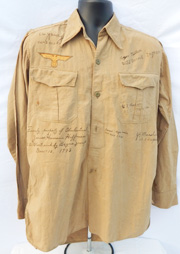 WWII U-Boat Skipper Hermann Hoffman's Captured And Signed Kreigsmarine Tropical Issue Shirt