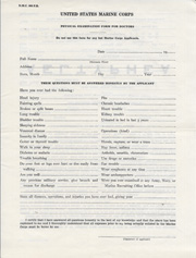 Pre-WWII Physical Examination From Your Doctor Marine Corps Recruitment Paperwork