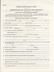 Pre-WWII US Marine Corps Questionnaire For Enlistment
