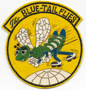 1950's US Air Force 37th Troop Carrier BLUE-TAIL FLIES Japanese Made Bullion Squadron Patch