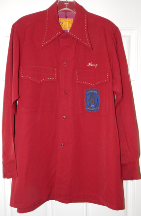 1950's US Air Force 13th Bomb Squadron Japanese Made Red Gaberdine Shirt