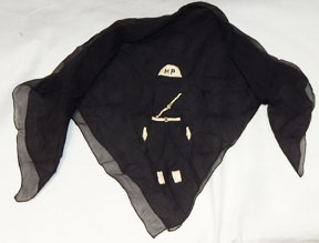WWII - Occupation Period Military Police / MP Raw Silk Embroidered Scarf