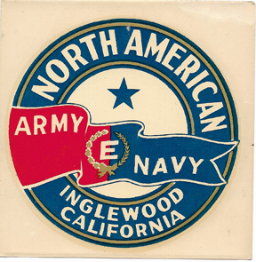 WWII North American Aviation  Army Navy E Flag Award Decal