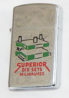 1959 Superior Die Set Milwaukee Advertising Zippo