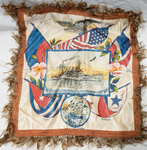 WWI USS Seattle Souvenir Pillow Cover.