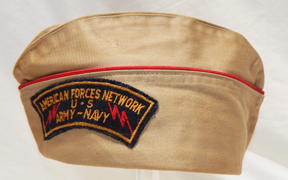 WWII Armed Forces Radio Network Khaki Overseas Cap