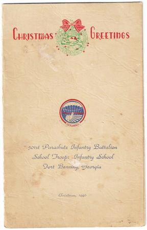 501st Parachute Infantry Battalion School Troops Infantry School Christmas 1946 Menu & Roster