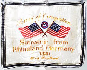WWI US 3rd Army German Occupation Sweetheart Wall Hanger Souvenir Of Rhineland