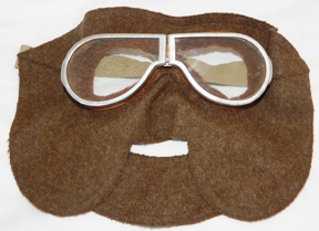 WWI - 1920's Pilots Open Cockpit Wool Face Mask & Goggles