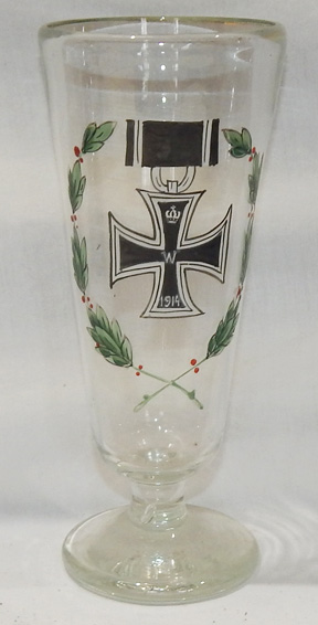 WWI Imperial German Iron Cross Hand Painted Beer Glass