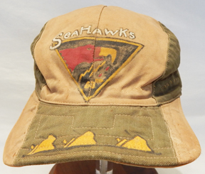 """WWII Theatre Made 63rd Bomb Squadron SEAHAWKS Custom Made Painted Cap With """"KILLS"""