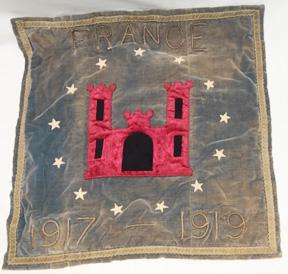 WWI Engineers In France Bullion & Velvet Wall Hanger / Pillow Case