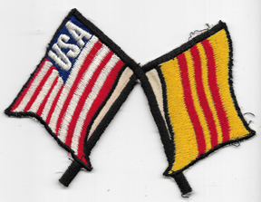 Crossed South Vietnamese & US Flag Novelty Patch