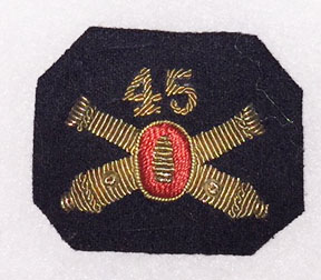 Pre-WWI 45th Coast Artillery Bullion Officers Collar Insignia