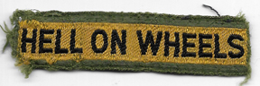 WWII - Occupation Period 2nd Armor Division HELL ON WHEELS Theatre Made Tab / Patch