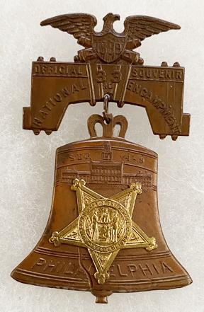 1899 GAR 3rd Encampment Philadelphia Liberty Bell Badge / Medal