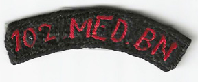 WWII Occupation - Late 40's 102nd Medical Battalion Raw Silk Tab / Patch