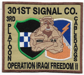 Operation Iraqi Freedom II 3rd Platoon 301st Signal Company CABLE DAWGS Theatre Made Patch