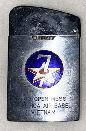 Vietnam NCO Open Mess Tuy Hoa Air Base 7th Air Force Vietnam Cigarette Lighter