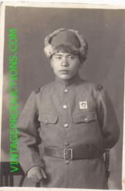 WWII Japanese China Front Army Soldier With Squadron Marking Over Pocket Photo