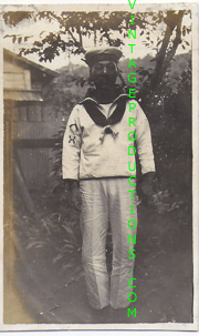 WWII Japanese Navy Sailor in white uniform with profeciency rates showing Photo