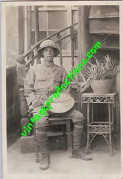 Japanese Army Officer Wearing Tropical Pith Helmet Photo.