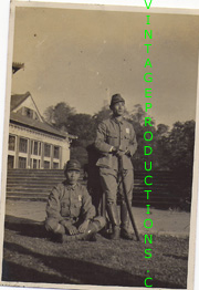 WWII Japanese Army NCO's, one holding sword, with squadron markings on uniforms Photo