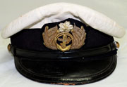 WWII Imperial Japanese Navy Officers Visor Hat With White Removeable Cover