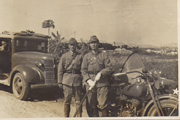 WWII Era Army Motorcycle Driver & Sword Photo