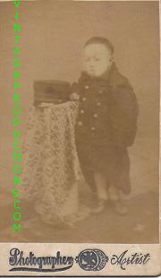 Meiji Era Studio Setting Of Japanese Child Wearing Military Uniform Photo