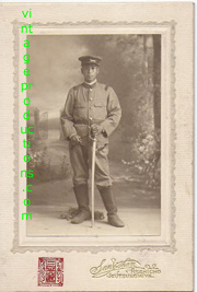 Taishoi Era Studio Setting Of Japanese Infantryman Holding Sword Photo