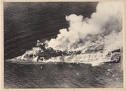 WWII Japanese Propaganda Photo Of Sinking Of British Carrier Hermes