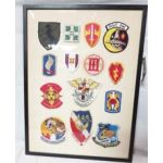 Jonathon Winter's Framed Vietnam Patch Set From USO Tours