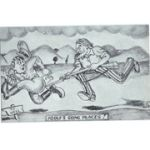 WWII Anti-Axis Home Front Postcard Of Uncle Sam Chasing  Hitler Postcard
