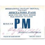 WWII Far East International Military Tribunal War Crimes Spectators Pass