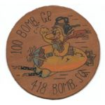 WWII AAF 8th Air Force 418th Bomb Squadron 100th Bomb Group Leather Squadron Patch