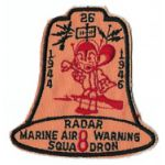 1940's - 1950's USMC Marine Air Warning Squadron 8 Squadron Patch