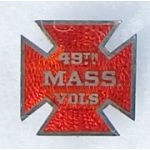 Civil War 48th Massachuesetts Volunteers Enameled Corps / Veterans Badge
