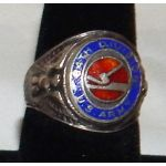 WWII 84th Division RAIL SPLITTERS Silver & Enamel Ring